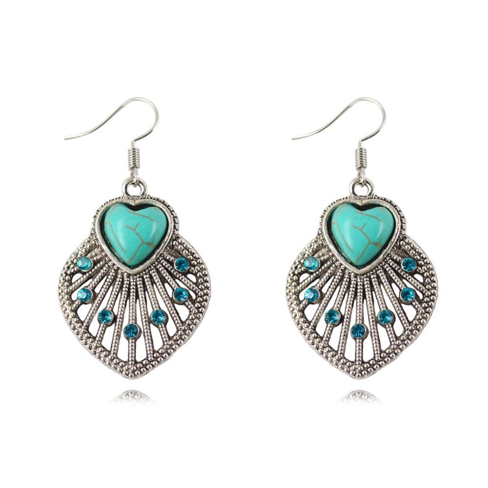 Accesorio Baño Antiguo:Silver Turquoise Dangle Earrings