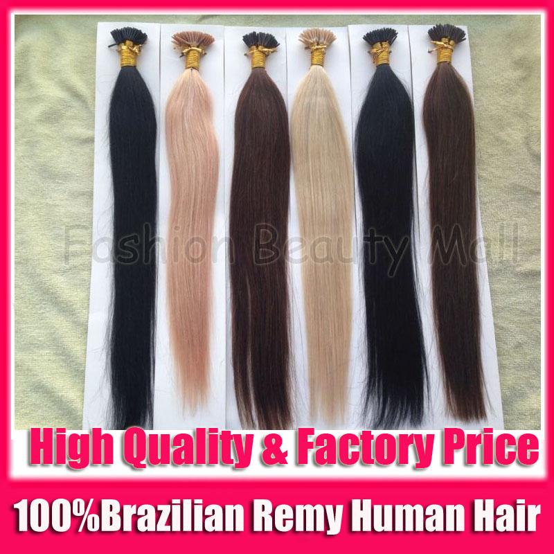 "10packs/lot 100S/pack 18"" 20"" 22"" 100% Brazilian Remy Real Human Natural Hair Extensions Stick I Tip Fushion Hair Keratin Glue(China (Mainland))"