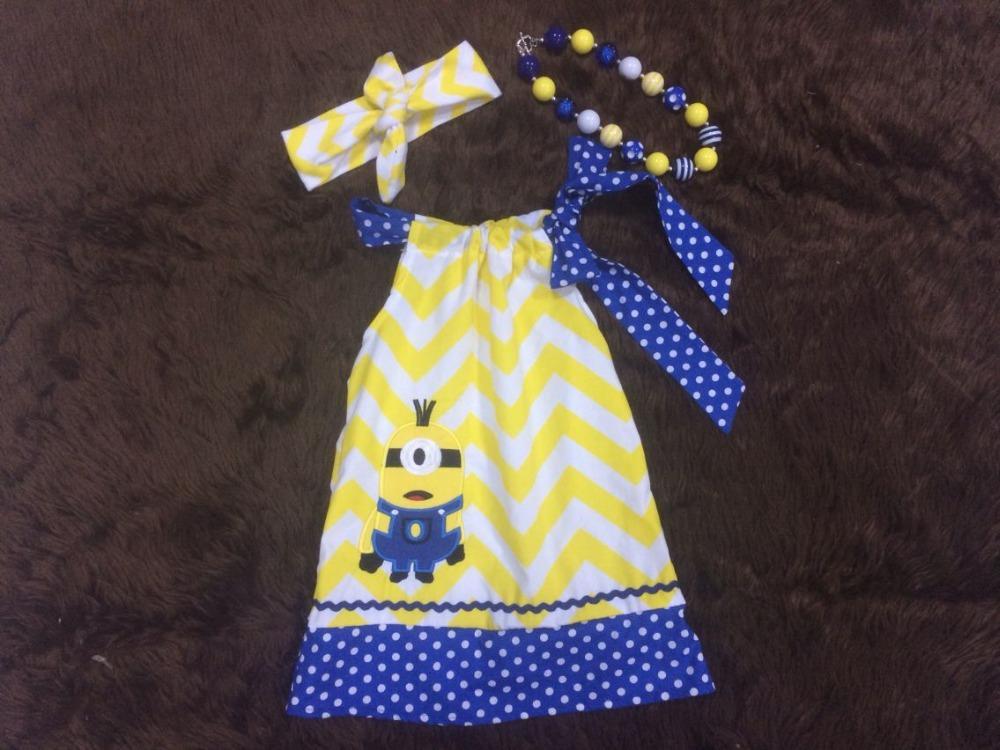 AliExpress.com Product - 2015 new design simple girls dress girls summer dress girl minionsdress blue quatrefoil with matching headband and necklace
