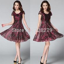 2015 Fashion Summer Dress Women's Clothing Quality gold thread lace Short-sleeve expansion bottom O-Neck Plus Size XL XXL 3XL