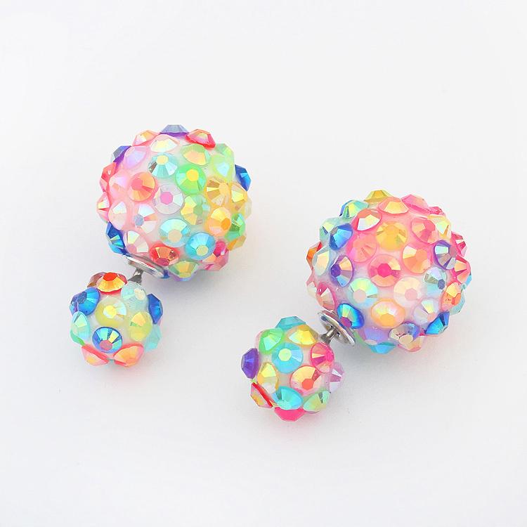 Star Jewerly 4 Colors Fashion Korea Pop Flower Crystal Cheapest Double Side Stud Earrings Big Pearl Earrings Free Ship(China (Mainland))
