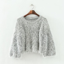 WST206# Women's Fluffy Mohair Knit Cropped Sweater, Ladies Crop Top Pullover Jumpe, Croped De Croche Blusas For Feminino.(China (Mainland))