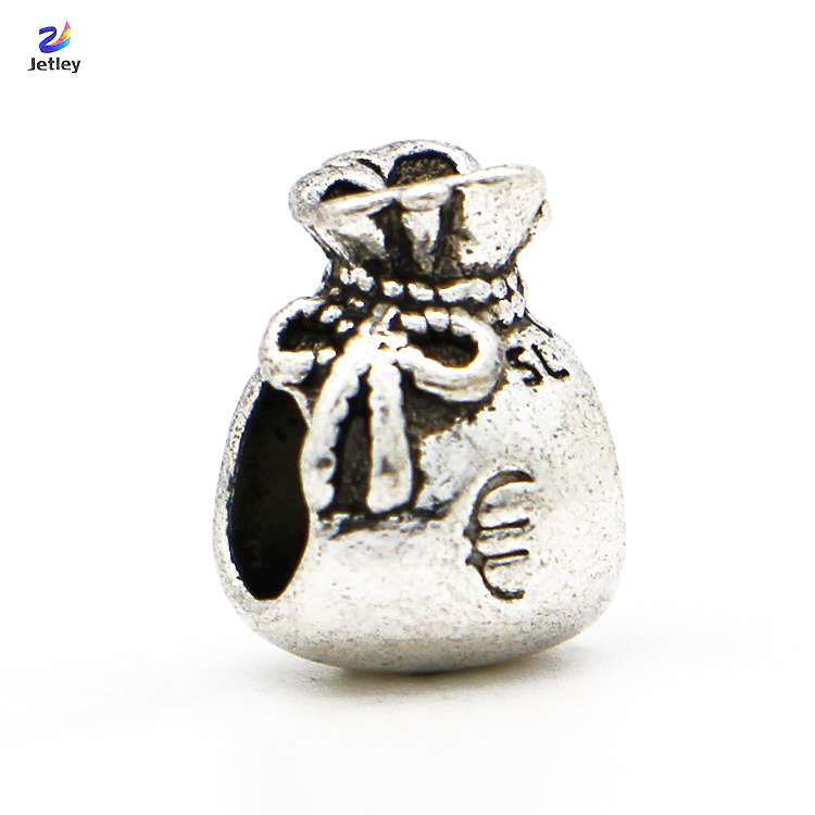 Free Shipping 1pc Silver Bead Charm European Bow Euro Sign Money Bag Fashion Bead Fit Pandora