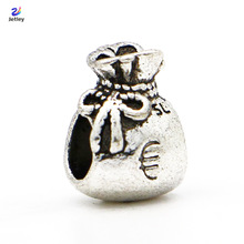 New 1pc Silver Bead Charm European Bow Euro Sign Money Bag Fashion Bead Fit Pandora Bracelets & Necklace