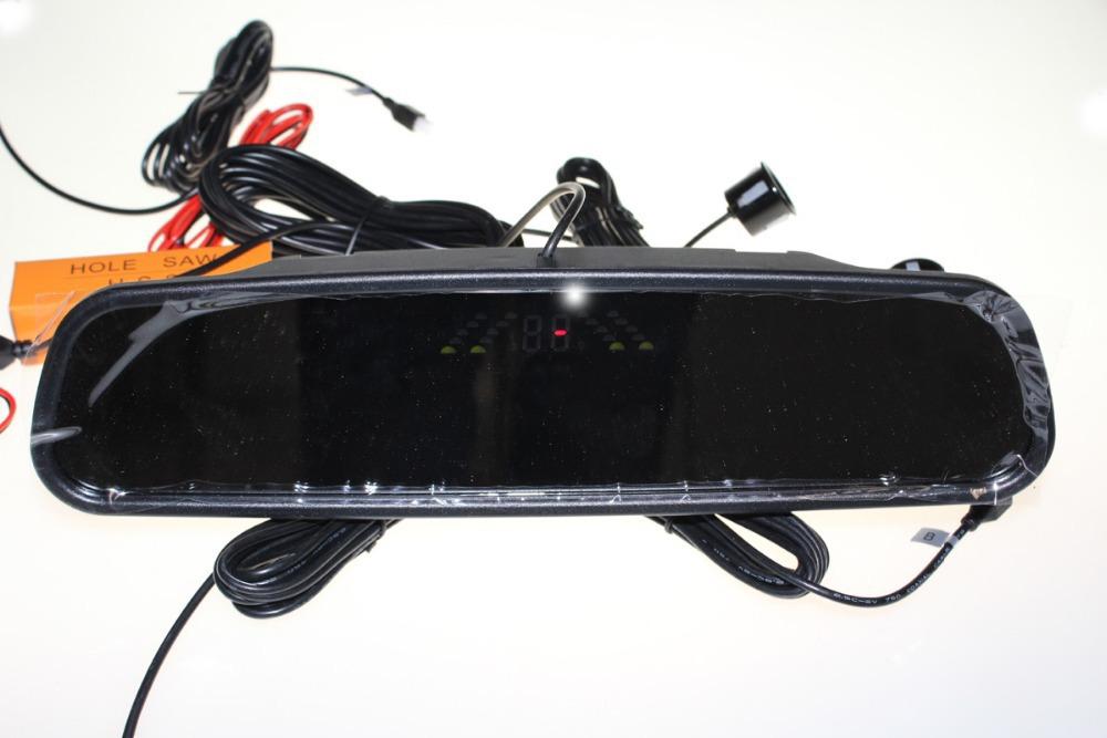 Reverse sensor Rearview Mirror parking monitor sound alert system parking sensor 4 Parking Sensors 1set Free Shipping(China (Mainland))