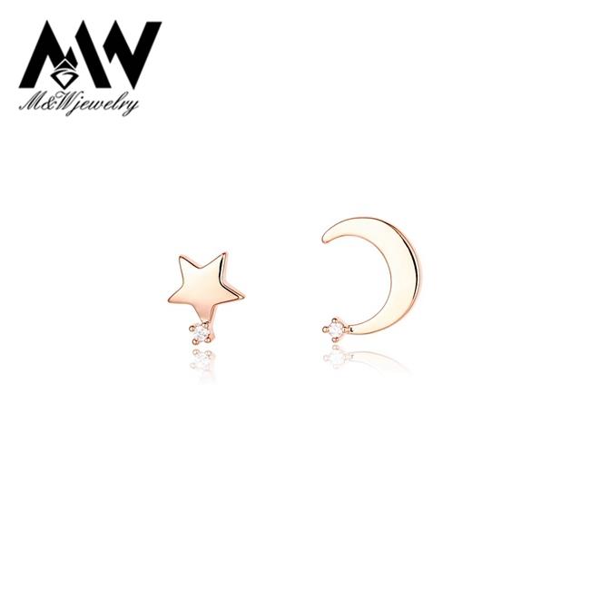 White Gold Moon Earrings Moon Earrings Gold Plated