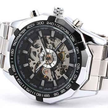 Победитель мужская серебряный стальной браслет доры скелет циферблат автоматическая спортивные часы Relogio Masculino