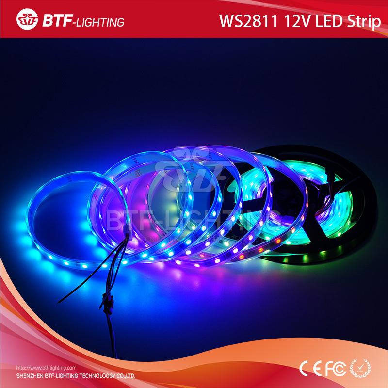5m ws2811 5050 addressable rgb led strip dmx 48leds White PCB, waterproof IP67 12v led flexible strip(China (Mainland))