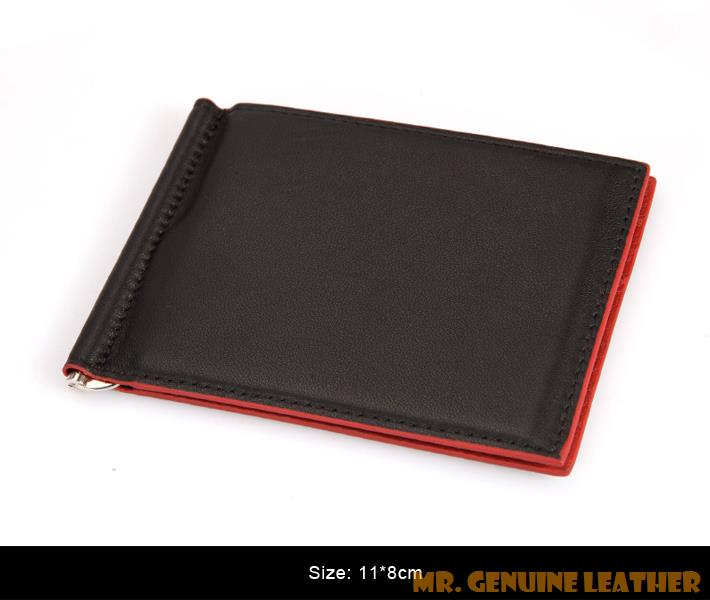 2015 Men Genuine Leather Money Clip Black Blue Red Color 11 8 Cm Gentleman S First