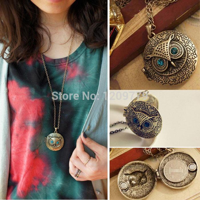 A1 Owl Openable Photo Locket Box Pendant Necklace with Blue Rhinestone Eyes H6875 P(China (Mainland))