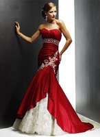 red strapless lace-up beading chaple train wedding dress wholesale and retail