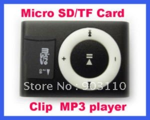 WHOLESALE GIFT shipping New Mini Micro SD/TF Card metal mp3 Clip Mp3 player mini mp3 usb player cable player Black usb