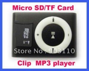 WHOLESALE GIFT shipping New Mini Micro SD/TF Card metal mp3 Clip Mp3 player mini mp3 usb player cable player Black usb