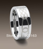 Wholesale New Guaranteed 100% 8MM Tungsten Carbide laser Logo Wedding Band Ring + free shipping