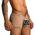 N2N:Free Shipping Sexy fashion men's low rise boxer briefs (beige): N2N086-53