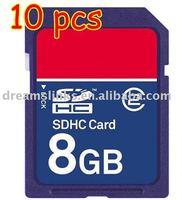 FREE SHIPPING10PCS SECURE DIGITAL 8 GB 8G 8GB SD MEMORY CARD Full Capacity