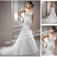 Beading 2012 Stylish V neck A line Wedding Dress Satin  MG720