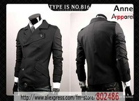 Free shipping Men's Slim suit 2010 double-breasted Casual fashion jacket Men's coat Size: M-L-XL,JK19