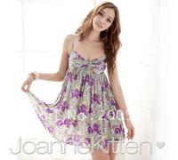 JOANNEKITTEN Dress,Rose beauty!Colorful spaghetti straps dress,V Breast cotton dress,printed dress.gray/purple,red&Free shipping