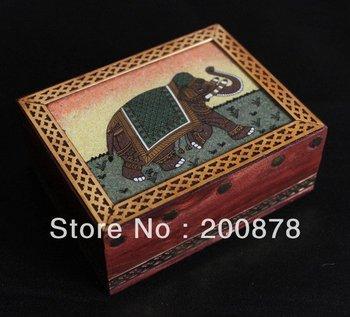 TJB906  Indian handmade wood jewelry box,110*85*40mm,colorful sand painting Elephant case,Resale & Wholesale,Free ship