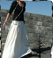 S0009 white Free shipping high quality women's fashion Bohemia style Custom made long patchwork skirt with pocket