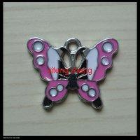 100 pcs/lot Free shipping enamel charm(butterfly)