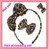 Free Shipping!New 12sets  leopard printed satin hair bow hair accessory set