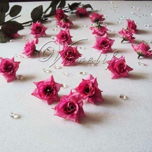 Искусственные цветы для дома 24PCS Fuchsia Silk flower head rose wedding decoration