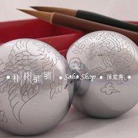 Hand engraved baoding iron ball,50/55mm musical stress balls,chromium,typical dragon&phoenix,the symbol of the harmony.Pape box.