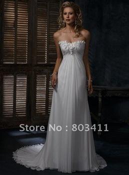 Freeshipping Simple Design Hot Sale Slim A-line Sleeveless Chiffon Wedding Dress