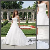 2015 NEW Strapless Evening Dress Free Shipping White Taffeta Beading Strapless A-line Gorgeous white Wedding Gown