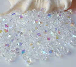 Free shipping HOT SELLING 4mm AB CLEAR crystal bicone beads, 1000pcs/bag(China (Mainland))