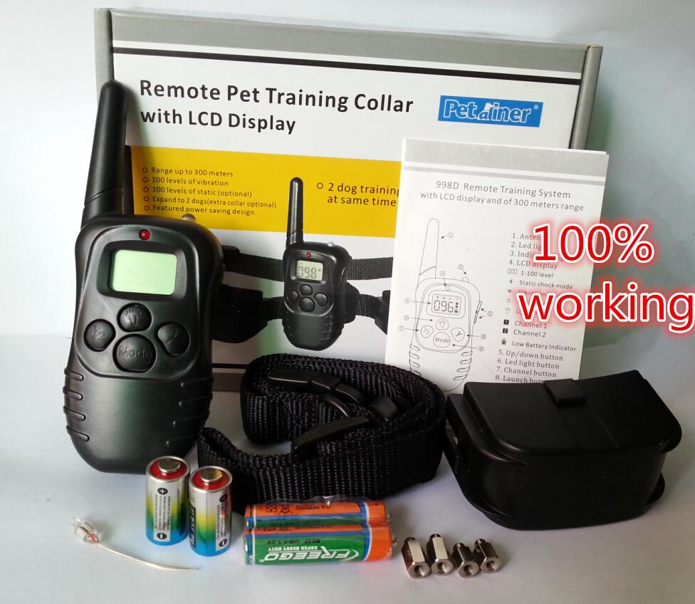 retail box 300M 100LV Anti Back Dog Shock Training Collar LCD Mode Display Remote Control Pet Trainer Kit Black Newest(China (Mainland))