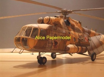 [Alice papermodel] Long 90CM 1:24 Russia  Soviet gunship Mi17 Mi-17 helicopter aircraft plane models