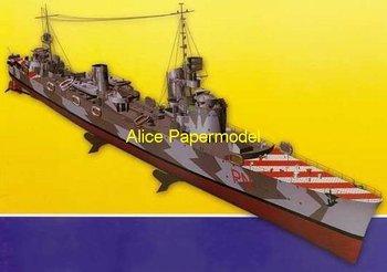 [Alice papermodel] Long 75CM 1:150 WWII Italy destoryer Leone Pancaldo battleship warship models
