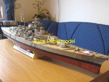 [Alice papermodel] Long 1.8 meter  WWII battleship cruiser Pancernik Bismarck ship models