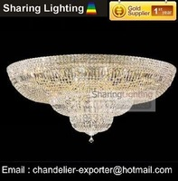 [Huizhuo Lighting]Free Shipping Gold or Silvery D915*H590mm Flush Mounted  Crystal Ceiling Light