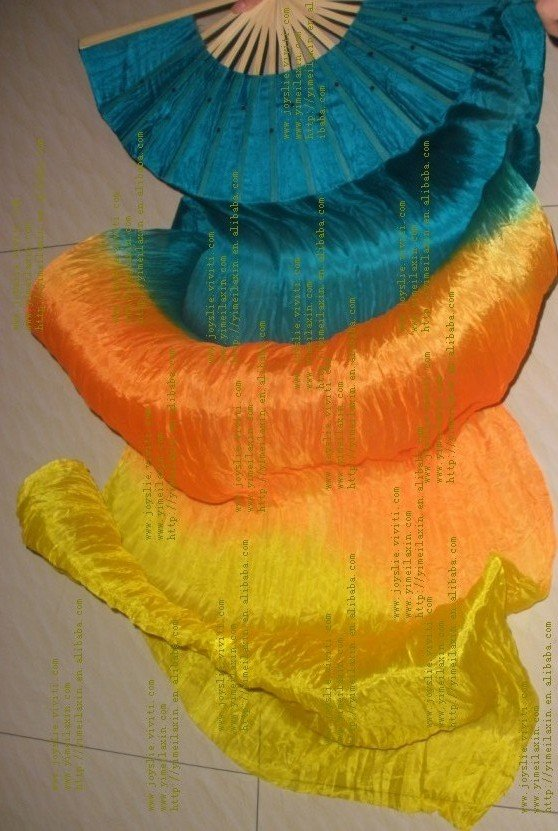 Colors belly dance fans,silk fan veil by pair,silk(two or three combinations)(China (Mainland))