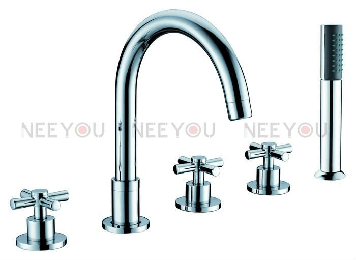 Brand Luxury Free Shipping 5 Pcs Bath Tub Mixing Faucet Cross Handle With Round Hand