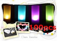 Wholesale 100pcs/lot New Colorful Changeable LED Light Romantic Solid Electronic Candle Flicker Sensor Blow On / Off