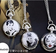 free shipping Sexy Movie Star Quartz Pocket Necklace watch(China (Mainland))