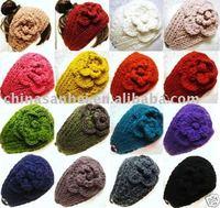 free shipping Handmade knit Crochet winter Headband Flower new style ear band