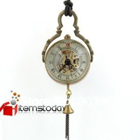 Unisex Round Copper+Glass Mechanical Pocket Watch Gift  iw245