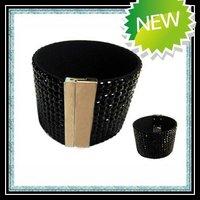 Free shipping popular black rhinestone magnetic leather bracelet