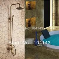 Antique Brass Wall Mounted Rain Shower Faucet Set  H68