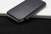 Black genuine leather Pull Tab pouch pocket case cover bag for iphone 4 4s 4G,1pc Free Shipping