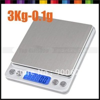 Professional Digital LCD Jewelry Kitchen Food Diet Weight Weighing Gram Balance Scale 3000g x 0.1g 3Kg  #1249