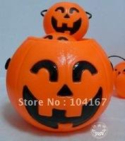 Free Shipping 50pcs/lot Mini Beautiful Plastic Halloween Pumpkin Halloween Favor Pumpkins