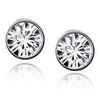 Free Shipping!!! 7MM Women's Luxury 18K White Gold Plated & White Crystal Stud Earrings Made With Swarovski Elements (48)
