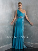 2012 Spring New Designer one-shoulder beaded evening dress,exquisite handcrafted maxi gown,perfect as warm gift for Mother's Day